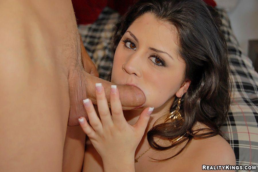 Latina sucks hard cock and then fucks it 2